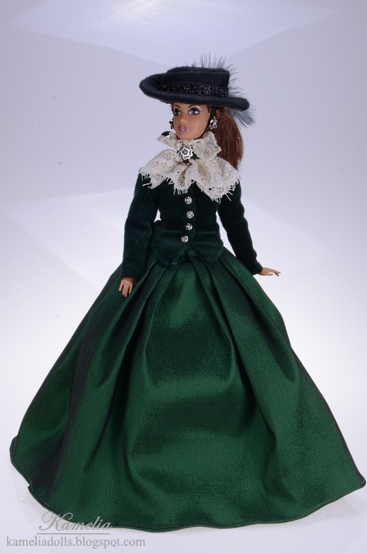 Grenn dress for Barbie doll inspired by 19th century fashion.