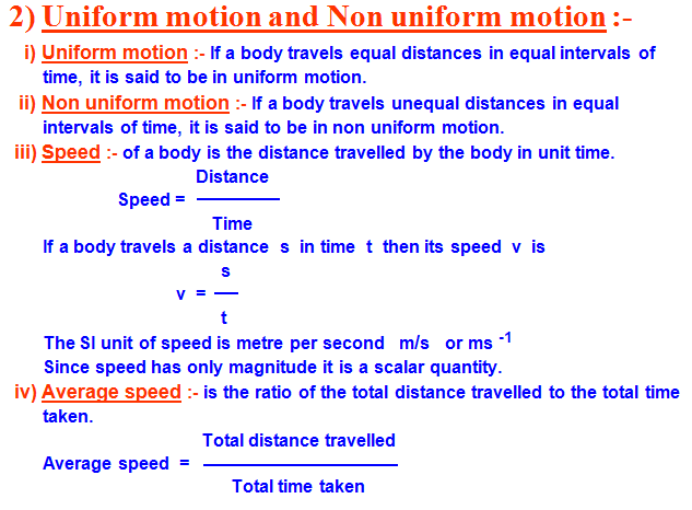 uniform motion ,non uniform motion,speed,average speed,