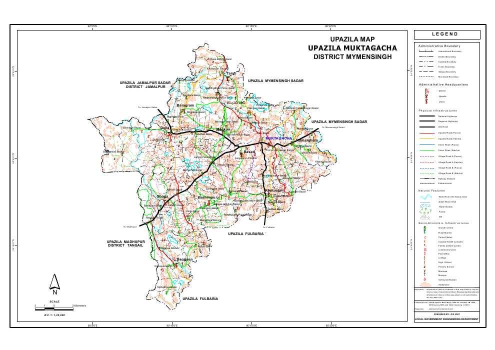Muktagacha Upazila Map Mymensingh District Bangladesh