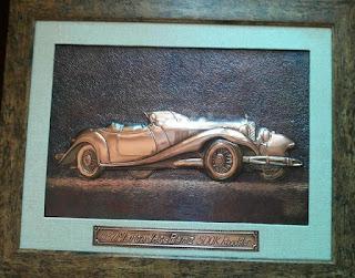 metaloplastie pe tabla de cupru, masina de epoca mercedes, tablouri, masini, arta plastica, lucru manual, masini de epoca,