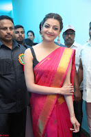 Kajal Aggarwal in Red Saree Sleeveless Black Blouse Choli at Santosham awards 2017 curtain raiser press meet 02.08.2017 021.JPG