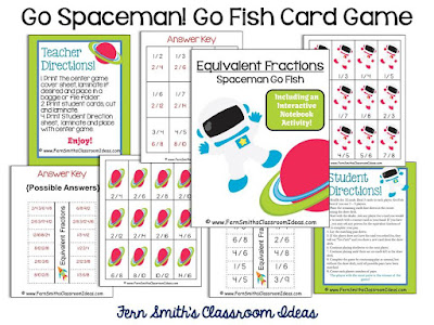 FERN'S FREEBIE FRIDAY ~ GO SPACEMAN! GO FISH CARD GAME FOR EQUIVALENT FRACTIONS - Fern Smith's Classroom Ideas