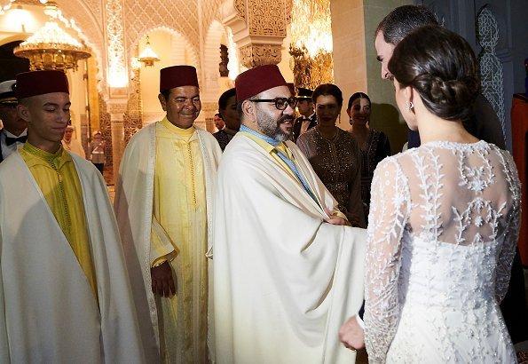 Queen Letizia wore a lace dress by Felipe Varela, diamond earrings