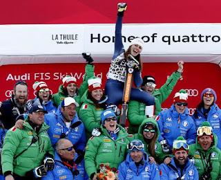 podio paris fanchini coppa mondo sci