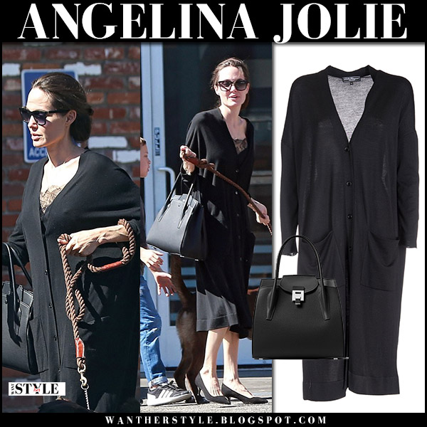 Angelina Jolie in black long cardigan dress salvatore ferragamo and black pumps everlane walking her dog street style october 22 2017