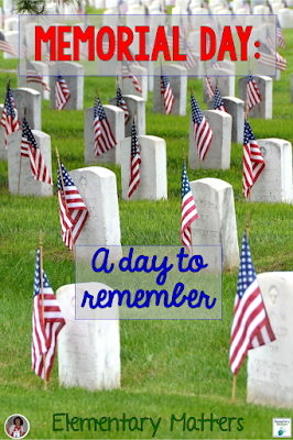 Memorial Day: A Day to Remember - Ideas, Resources, and 3 different freebies for honoring Memorial Day in the Primary Classroom