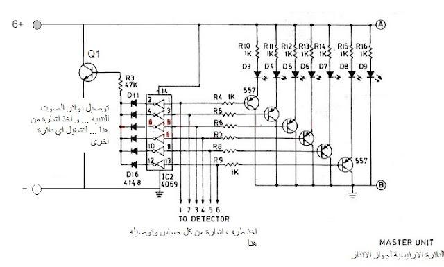جهاز انذار ،تصميم جهاز انذار ودوائره عملياً