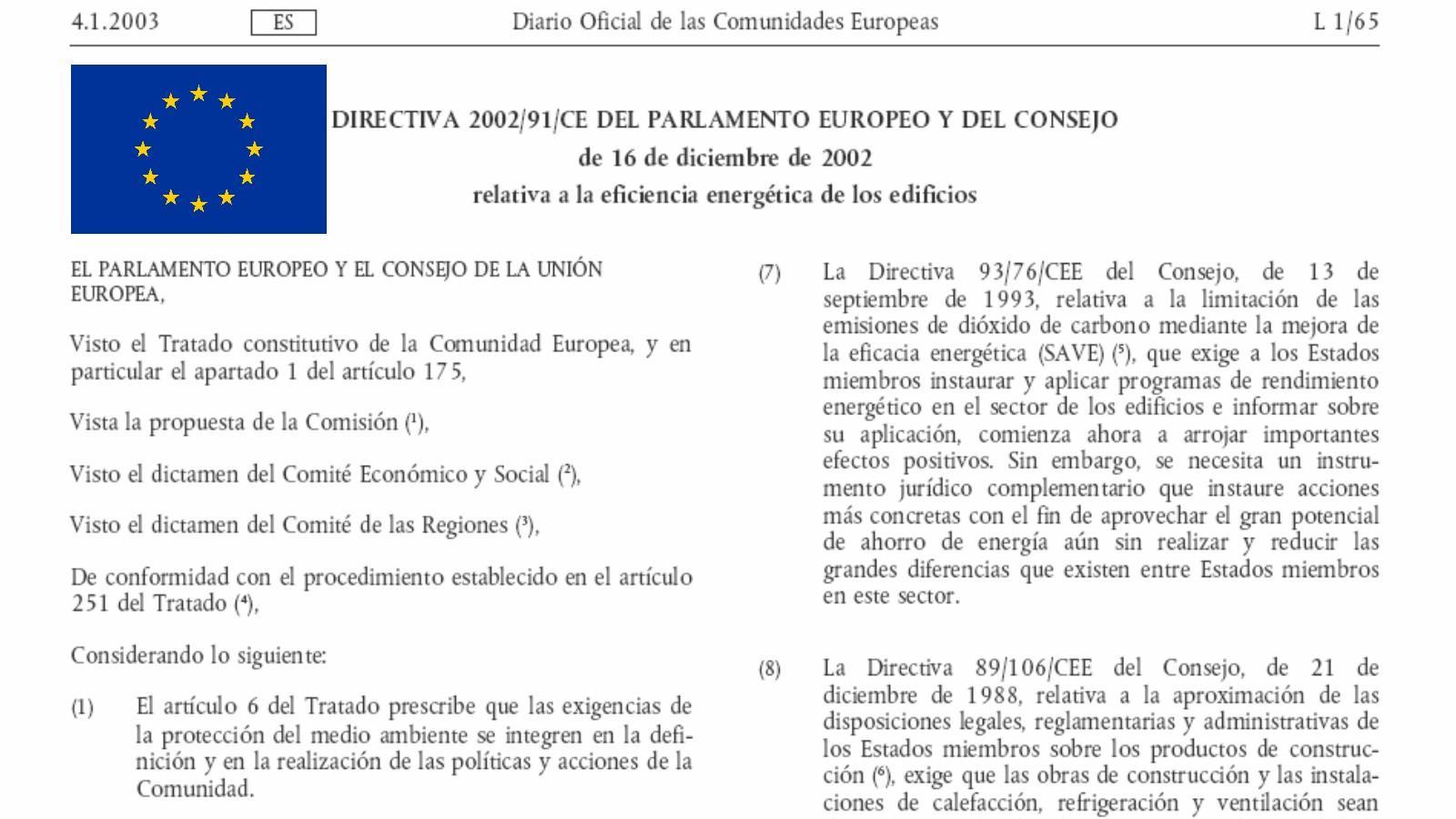 legislacion y normativa de eficiencia energetica