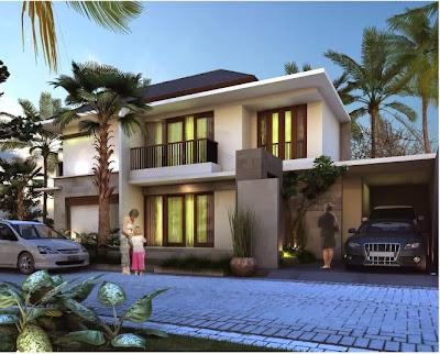 Contoh Desain Rumah Mewah 2 Lantai bagian Depan  Gambar