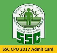 SSC CPO 2017 Admit Card