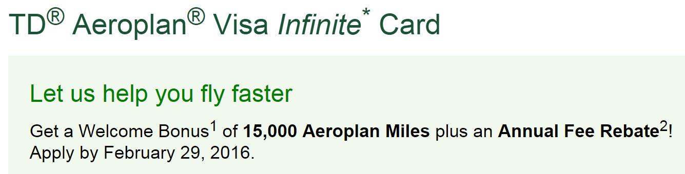 td aeroplan rewards chart
