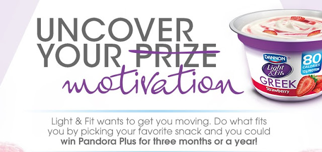 Dannon Light & Fit Yogurt wants to motivate you this new year by offering you a chance to enter daily to win instant win prizes including Pandora subscriptions!