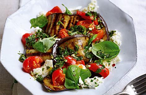 Aubergines / Egg Plants Health Benefits and Recipe Ideas Grilledaubergineandtomatosalad