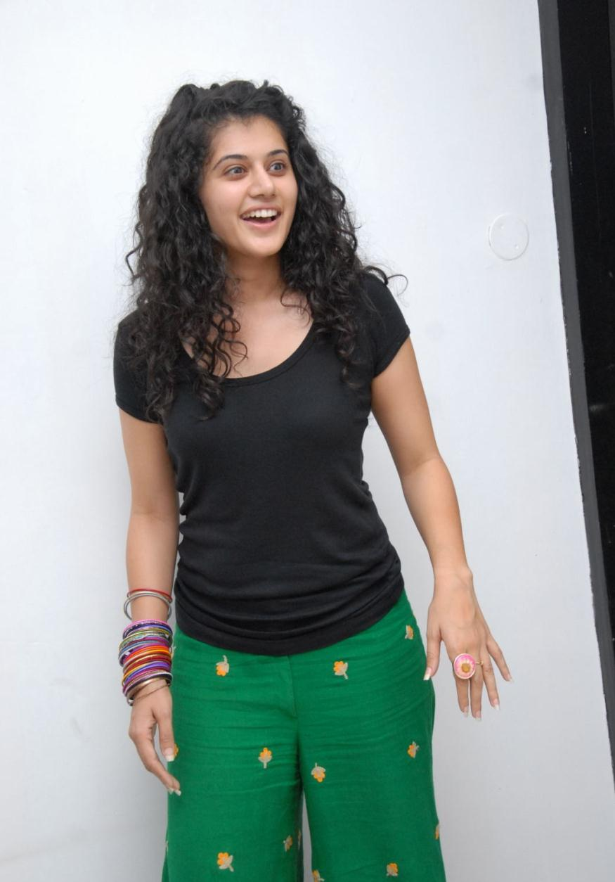 Glamorous Taapsee Hot Stills In Black Dress