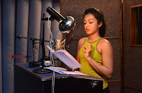 Actress Catherine Tresa Pos during Self Dubbing for Gautham Nanda Movie  0046.JPG