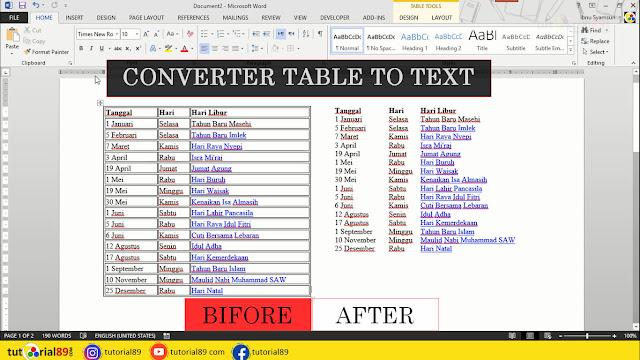 Cara merubah table ke tulisan biasa di Microsoft word + video