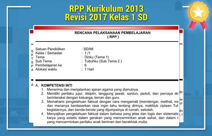 RPP Kurikulum 2013 Revisi 2017 Kelas 1 SD