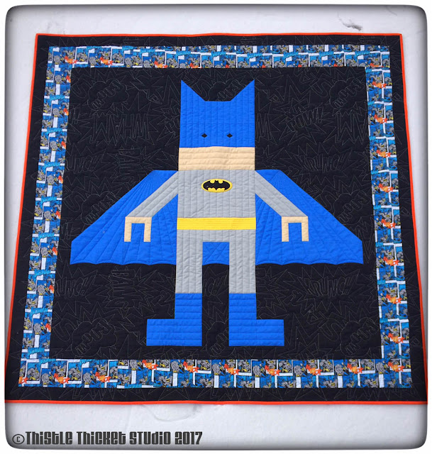 Thistle Thicket Studio, Lego Batman Quilt, Lego Batman, Batman, super hero quilt, super heroes