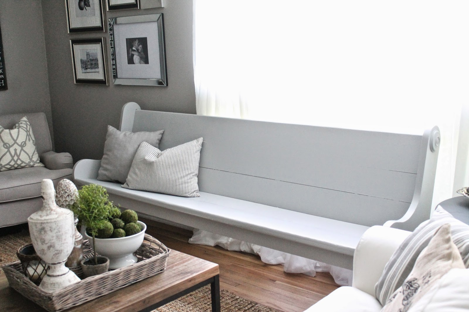 its about 75 feet long bigger than my own white church pew and super sturdy right now its just hanging out in my living room waiting for the sale - Living Room Church