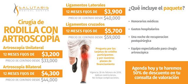Paquete Cirugia Rodilla Artroscopia Ligamentos Precio Guadalajara Mexico