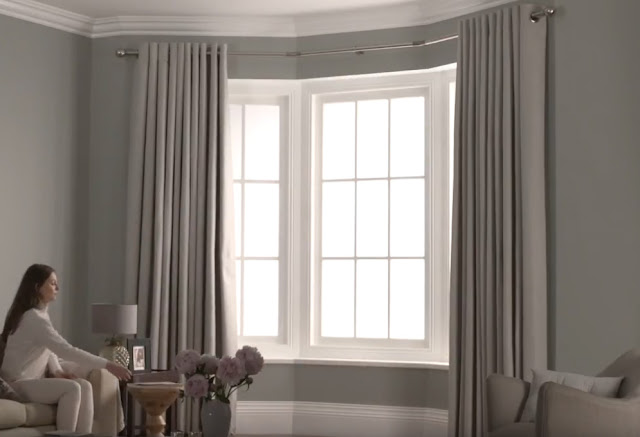 Neo Bay Window curtain poles, made for eyelets