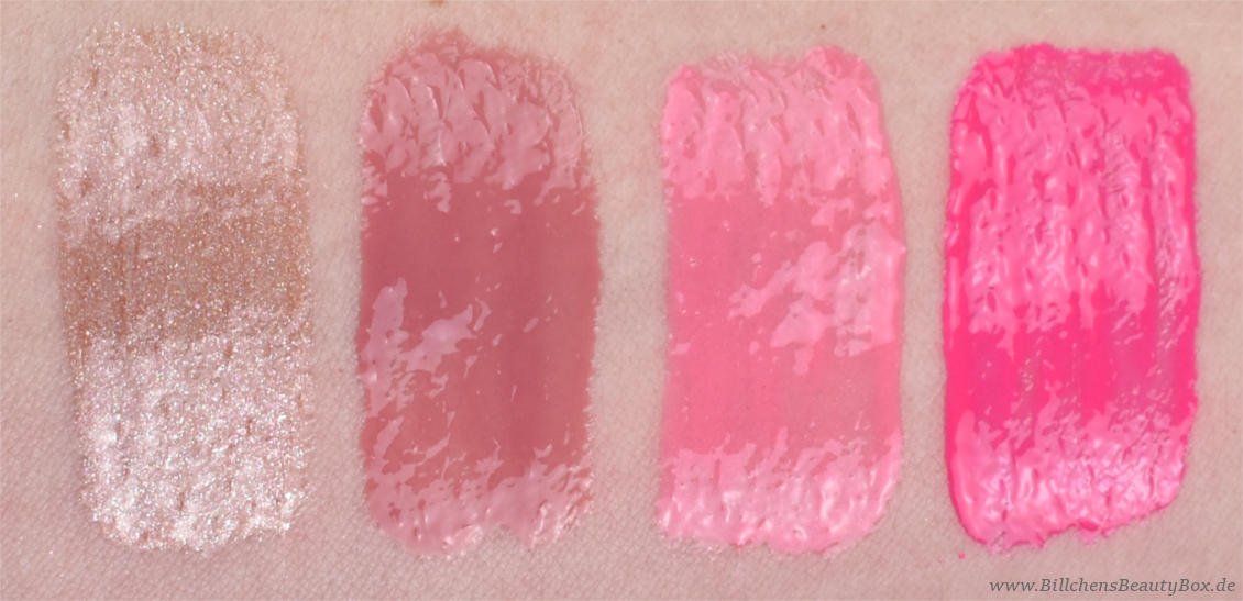 essence - shine shine shine Lipgloss - bright on - happiness in a bottle - indie romance - one-woman show - Swatches