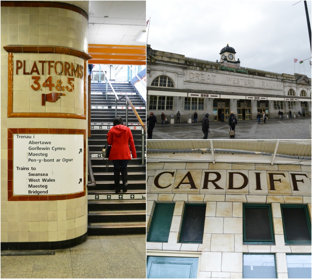 cardiff train station vintage signs platforms frontage