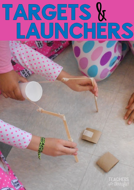 STEM Challenge: Two groups with the same materials. Each makes a different item and in the end the two devices must fit together and work to solve the task! In this one one team makes the launcher and the second makes the target to fire at!
