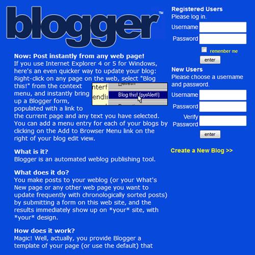 Página inicial do Blogger da Pyra Labs em 3 de Novembro de 1999