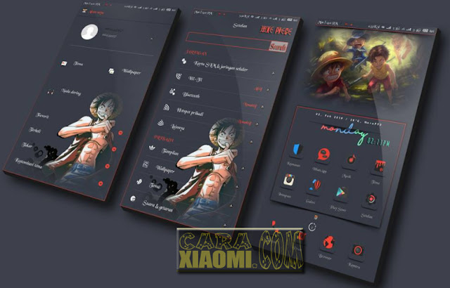 Update Tema MIUI Dark Grey Monkey D.Luffy Mtz For Xiaomi MIUI9/MIUI8