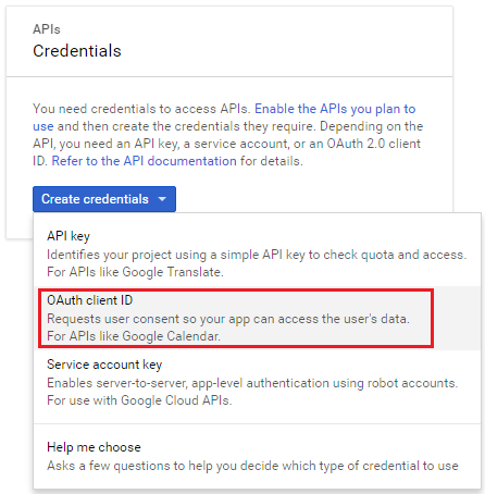 google developer console oauth