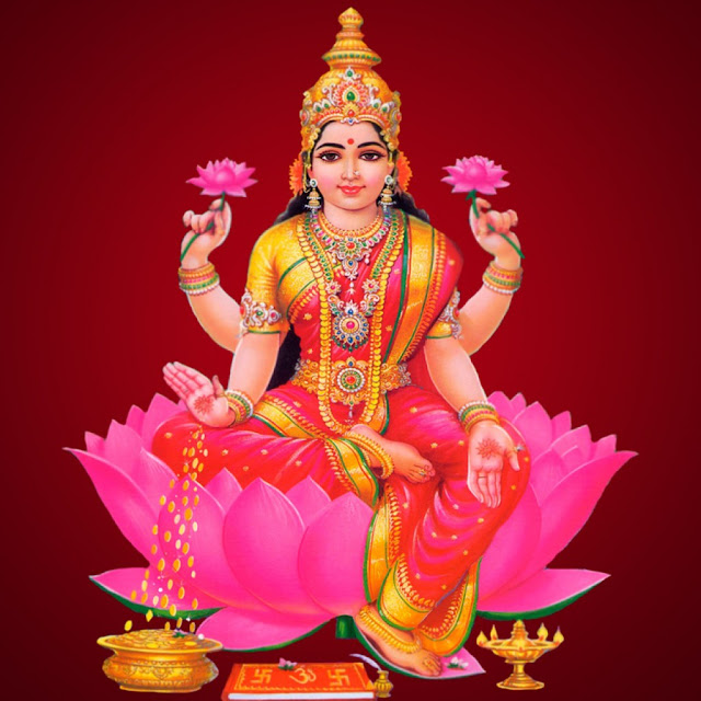Best Maa Laxmi HD Wallpaper In Red Background