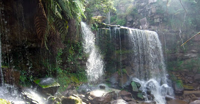 the great waterfall at Cambodia National Park at Kampot