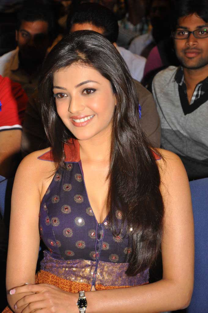 South Indian Hot Actress Kajal Agarwal Long Hair Stills In Blue Dress