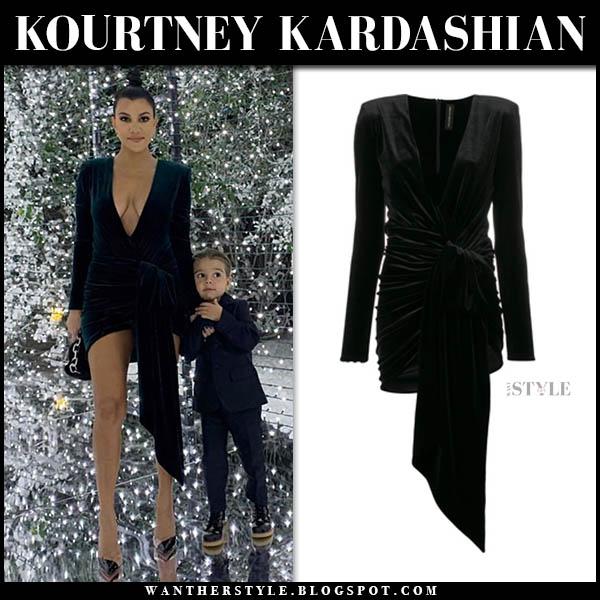 Kourtney Kardashian in black velvet mini dress alexandre vauthier christmas party december 24