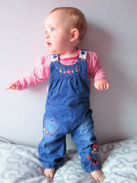 Project 365 - Baby S posing in little denim dungarees