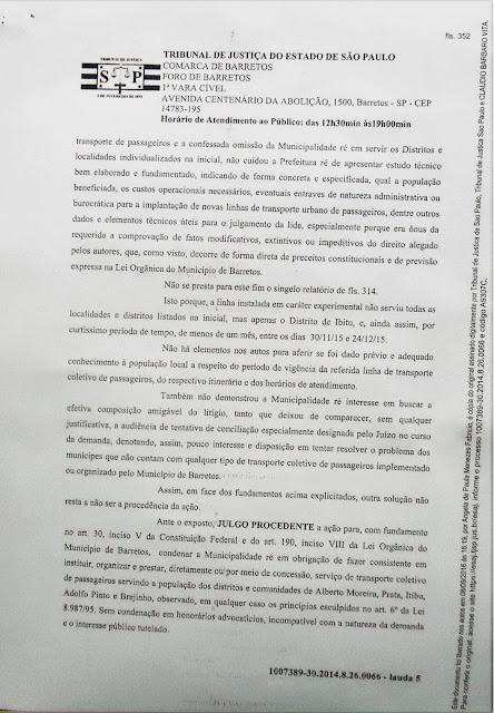 1007389-30.2014.8.26.0066 - Lauda 5 - Sentença Transportes Terrestres Zona Rural Barretos - Pag. 352