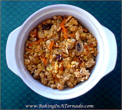 Fall Harvest Stuffing: A side dish for the holidays. Stuff your turkey to bake in the bird or bake in a casserole dish in the oven. Easy preparation. Can be made ahead | Recipe developed by www.BakingInATornado.com | #recipe #Thanksgiving #Christmas