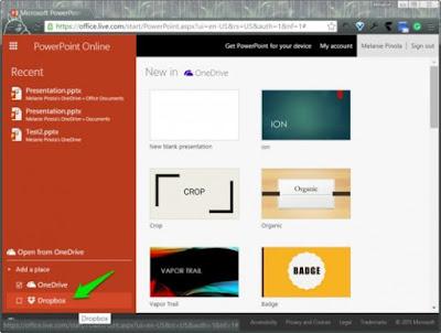 Cara menghubungkan Dropbox ke Office lewat media Online Versi Office berbasis Web dari Word, Excel dan PowerPoint telah mendukung telah mendukung pengunaan Dropbox sebagai Save Location