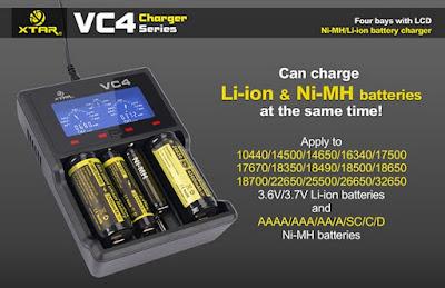 charger Xtar Untuk baterai vapor