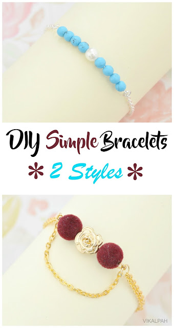 simple DIY bracelets using eye pin and beads