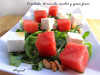 Ensalada de  rúcula, sandía y queso fresco