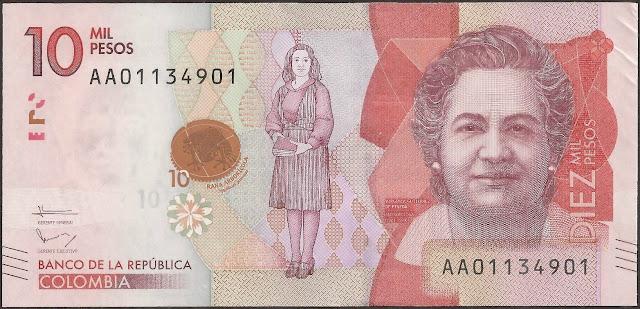 Colombian Money 10000 Pesos banknote 2016 Virginia Gutierrez de Pineda