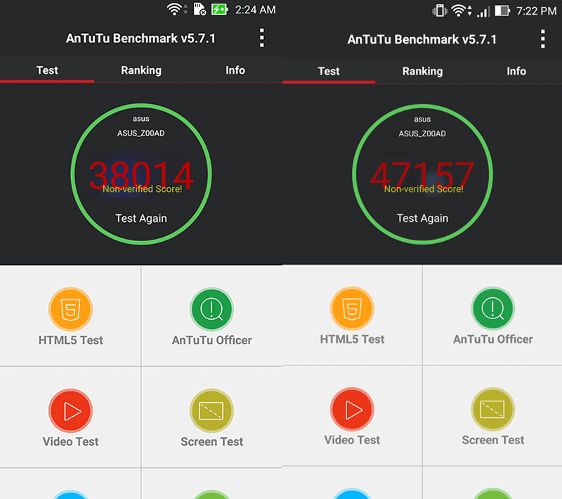 Antutu before and after update