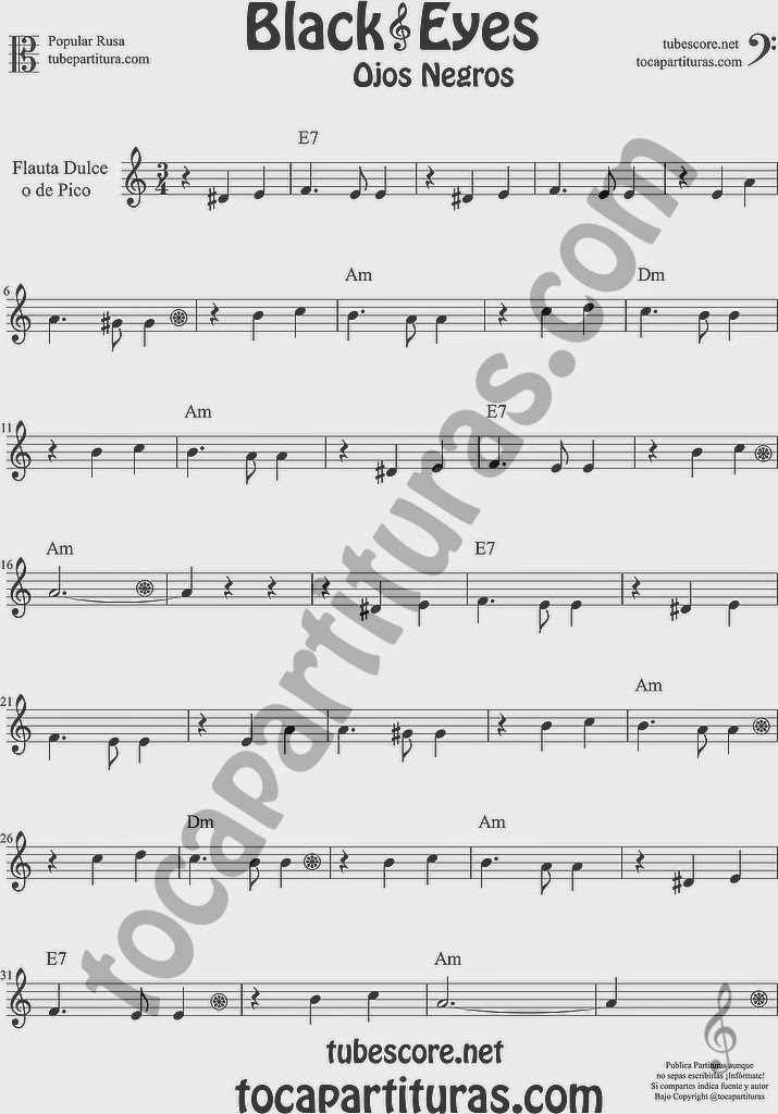 Ojos Negros Partitura de Flauta dulce y flauta de pico Fácil Sheet Music for Easy Recorder Music Scores Black Eyes Popular Rusa