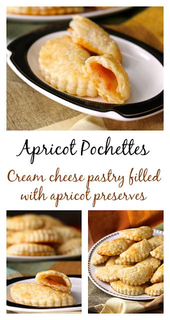 These Apricot Pochettes are reminiscent of little French pastry desserts. They are made with a cream cheese and butter pastry dough, and are filled with just a bit of apricot preserves.
