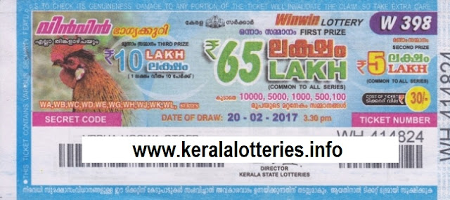 Kerala lottery result of Winwin-W-398