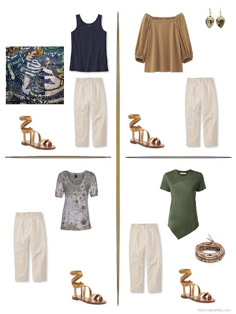 four ways to style a pair of beige cropped pants in a travel capsule wardrobe