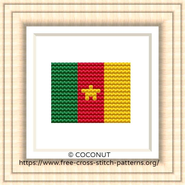 NATIONAL FLAG OF CAMEROON CROSS STITCH CHART