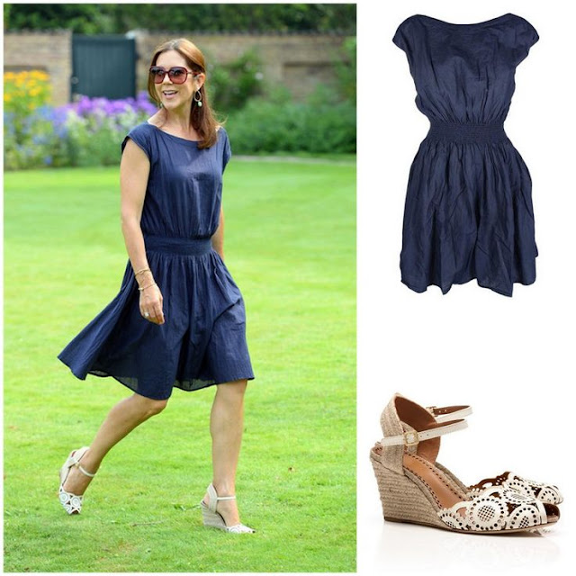 Crown Princess Mary in Rabens Saloner Dress &Tory Burch Shoes
